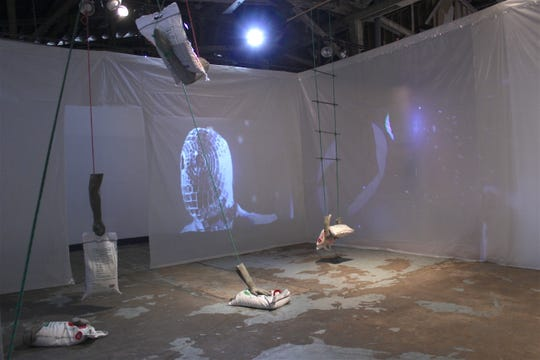 "A view of Tom Hall's ""The Sometimes Observed life of A Disco Gimp installation"" at 621 Gallery"