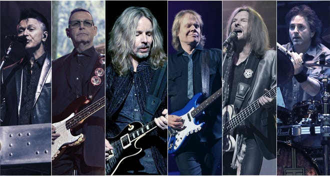 """The current lineup of the classic rock band Styx includes, from left, Lawrence Gowan, Chuck Panozzo, Tommy Shaw, James """"J.Y."""" Young, Ricky Phillips and Todd Sucherman."""