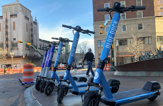 San Antonio-based Blue Duck Scooters entered El Paso's electric scooter rental market in December with 50 scooters. That's the initial number of scooters allowed when a company gets a permit under the city's recently extended scooter pilot program. El Paso's Glide Scooter Sharing was the first to get an operating permit in April.