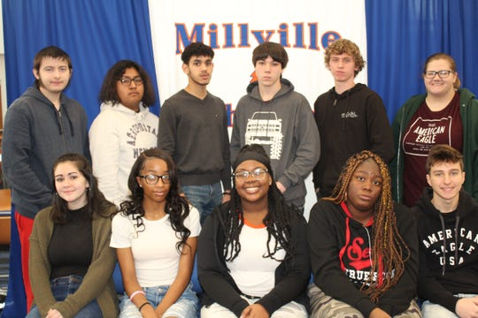 Millville Senior High School's Students of the Month for December are: (seated, from left) Sarah Kelly, Ciera Bowman, Jeniya Townsend, Nyesha Gleen and Austin Jacquet; and (standing, from left) Skylar Slimmer, David Garcia Aguilar, Jose Bello Vargas, Kyle Bennett, Blaine Donath and Sarah Lavalle.