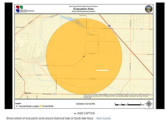 Evacuation area near Taft.