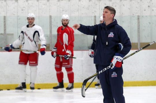 Hartford Wolf Pack coach Kris Knoblauch with his team at the Champion Skating Center in Cromwell, Connecticut, Jan. 22, 2020. The Wolf Pack are the New York Rangers' minor-league affiliate in the American Hockey League.