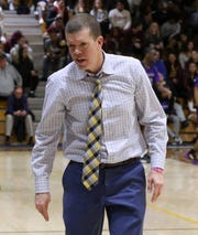 St. Thomas Aquinas head basketball coach Tobin Anderson during a game with Bridgeport at STAC Jan. 22, 2020.