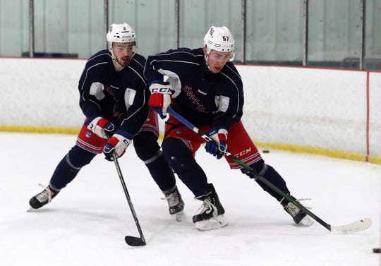 Hartford Wolf Pack's Yegor Rykov (57) practicing with his team at the Champion Skating Center in Cromwell, CT Jan. 22, 2020. The Wolf Pack are the New York Rangers' minor-league affiliate in the American Hockey League.