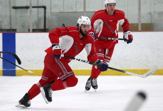 Hartford Wolf Pack's Phil Di Giuseppe practices with his team at the Champion Skating Center in Cromwell, Connecticut, on Jan. 22, 2020. The Wolf Pack are the New York Rangers' minor-league affiliate in the American Hockey League.