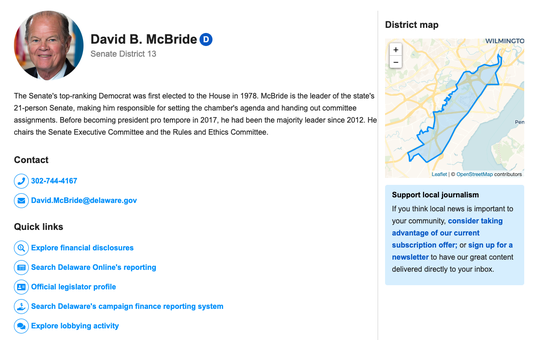 A screenshot of the Know Your Legislator application.