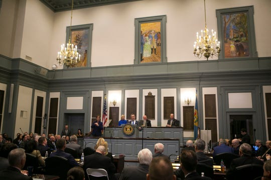 Governor John Carney gives his State of the State Address inside the House Chamber Thursday afternoon at Legislative Hall in Dover.