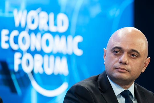 Sajid Javid, Britain's Chancellor of the Exchequer, pictured during the 50th annual meeting of the World Economic Forum, WEF, in Davos, Switzerland, Wednesday, Jan. 22, 2020.  (Gian Ehrenzeller/Keystone via AP)