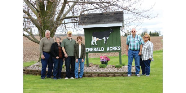 The Ossmann Family, from left, Theo, Lana, Paul, Debbie, Don and Joyce, have been presented the 2021 Elite Breeder Award by Holstein Association USA. Emerald Acres will be recognized during the 2021 National Holstein Convention on June 24th in Lancaster, Pennsylvania.
