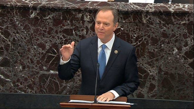 In this image from video, House impeachment manager Rep. Adam Schiff, D-Calif., speaks during the impeachment trial against President Donald Trump in the Senate at the U.S. Capitol in Washington, Thursday, Jan. 23, 2020. (Senate Television via AP) ORG XMIT: DCJE237