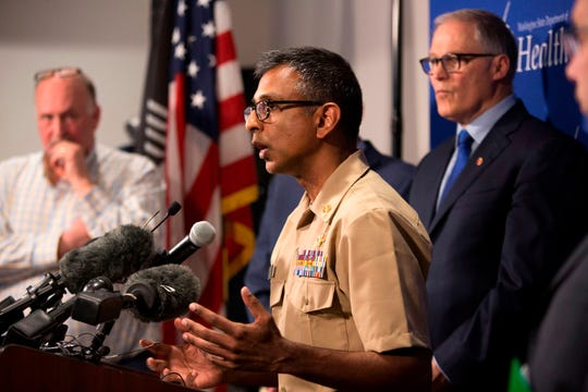 At a Jan. 21 press conference in Shoreline, Washington, Satish Pillai, Medical Officer in the Division of Preparedness and Emerging Infections at the Centers for Disease Control and Prevention, talks about a confirmed case of 2019 novel coronavirus in a Snohomish County, Washington resident.