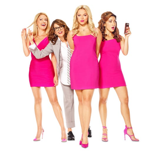 """Tina Fey with the current Broadway cast of the musical """"Mean Girls."""" The play is headed back to the screen for a movie version."""