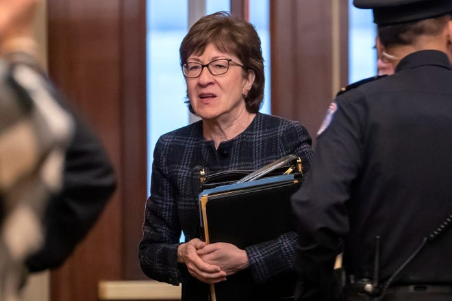 Republican Senator Susan Collins arrives for the impeachment trial.