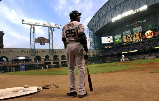 Bonds during a game in 2003 at Houston's Minute Maid Park.