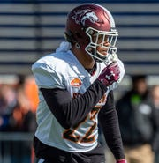 North safety Jeremy Chinn of Southern Illinois lines up during Senior Bowl practice.