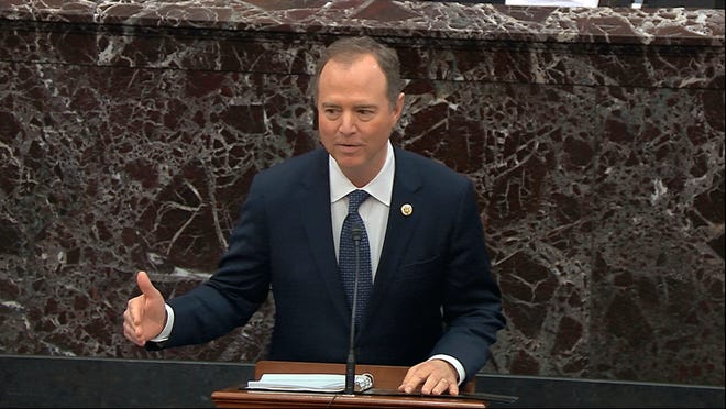 In this image from video, House impeachment manager Rep. Adam Schiff, D-Calif., speaks during the impeachment trial against President Donald Trump in the Senate at the U.S. Capitol in Washington, Wednesday, Jan. 22, 2020. (Senate Television via AP) ORG XMIT: DCJE259