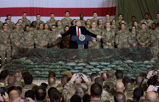 President Donald Trump speaks to U.S. troops at Bagram Air Base in Afghanistan on Nov. 28, 2019.