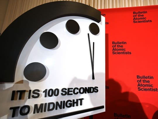 The Doomsday Clock reads 100 seconds to midnight, a decision made by The Bulletin of Atomic Scientists, during an announcement at the National Press Club in Washington, D.C., on January 23, 2020.