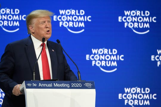 President Donald Trump addresses the World Economic Forum  in Davos, Switzerland, on Jan. 21, 2020.