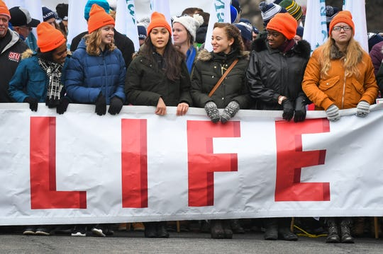 Participants in the 46th March for Life in January 2019 in Washington, D.C.