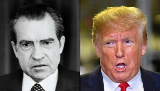 President Richard Nixon on April 30, 1973; and President Donald Trump on Nov. 20, 2019.