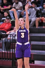 Hardin-Simmons' Parris Parmer (3) follows through on a shot against McMurry at Kimbrell Arena. Parmer scored a career-high 27 points to go with 11 rebounds in the win and earned ASC West Player of the Week.