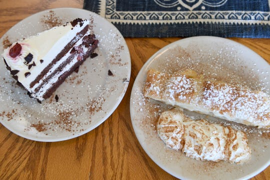 Black Forest cake and apple strudel are sweet options at Berliner Kindl German Restaurant in Black Mountain.