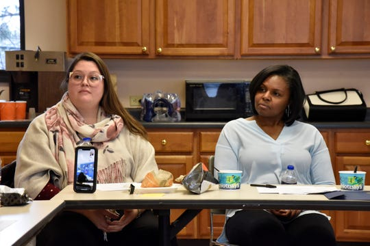 Rosemary Linares and Kimberly Holley attend a meeting of the Battle Creek Coalition of Truth, Racial Healing and Transformation at Leila Arboretum on Wednesday, January 8, 2020.