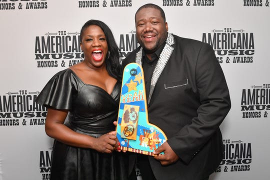 Tanya Blount-Trotter and Michael Trotter Jr. of The War and Treaty seen backstage during the 2019 Americana Honors & Awards at Ryman Auditorium on September 11, 2019 in Nashville, Tennessee.