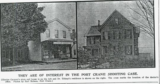 The Charles Carman store on the left, and the Dr. Tiffany home on the right.