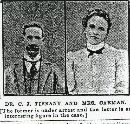 Dr. Thomas J. Tiffany (excuse the newspaper misspelling), and Anna Carman as they appeared in 1902.