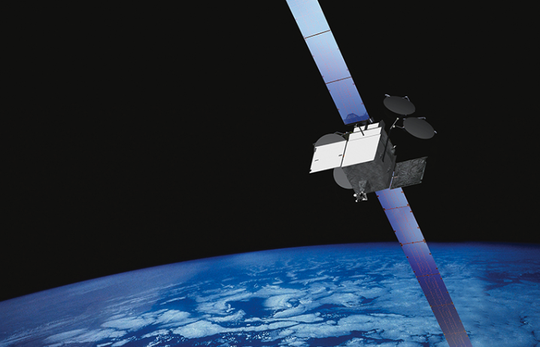 An artist's rendering of a Boeing 702 series satellite.