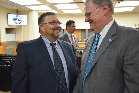 Richard Martinez, left,  speaks with Mayor Joe McComb. Martinez started as the new director of the Public Works and Street Operations Department on Jan. 21. He has 30 years of experience in street operations in major cities San Antonio and Fort Worth.