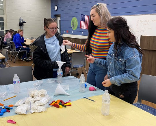 (L-R) Kyleigh Breland, Anne Belle and Daysi Swallow participate in an activity during a Breakfast Buddies event hosted by Big Brothers Big Sisters of South Central Ohio at the Chillicothe Intermediate School.