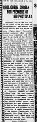 "An article about Chillicothe being chosen to premiere ""Huckleberry Finn,"" in Wednesday, Jan. 7, 1920 Gazette."