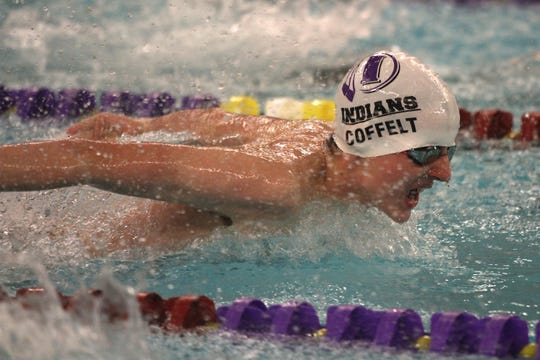 Indianola freshman Matt Coffelt competes in the 200-yard individual medley. Indianola hosted Grinnell, Oskaloosa and Newton in a Jan. 23 swim meet at the Indianola YMCA.