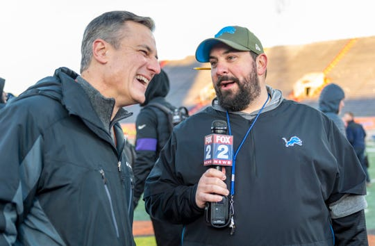 North head coach Matt Patricia of the Detroit Lions talks with Dan Miller during Senior Bowl practice at Ladd-Peebles Stadium, Jan. 21 2020 in Mobile, Alabama.