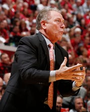 Michigan State coach Tom Izzo coaches on the sidelines during the first half of MSU's 67-63 loss to Indiana on Thursday, Jan. 23, 2020, in Bloomington, Indiana.