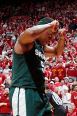 Michigan State guard Cassius Winston reacts during the second half of MSU's 67-63 loss to Indiana on Thursday, Jan. 23, 2020, in Bloomington, Indiana.