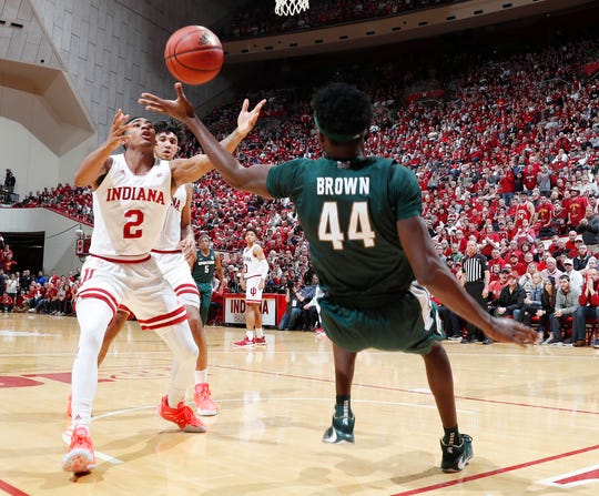 Michigan State forward Gabe Brown goes after a loose ball against Indiana guard Armaan Franklin during the second half of MSU's 67-63 loss to Indiana on Thursday, Jan. 23, 2020, in Bloomington, Indiana.