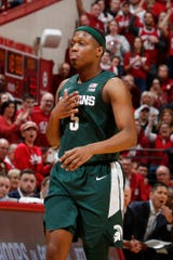 Michigan State guard Cassius Winston walks over to the sidelines during the second half of MSU's 67-63 loss to Indiana on Thursday, Jan. 23, 2020, in Bloomington, Indiana.