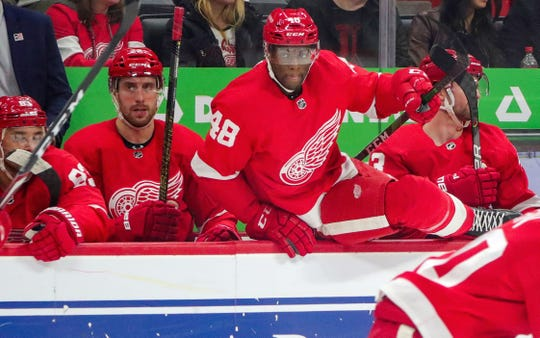 Detroit Red Wings' Givani Smith (48) comes off the bench against the Florida Panthers at Little Caesars Arena, Saturday, Jan. 18, 2020.