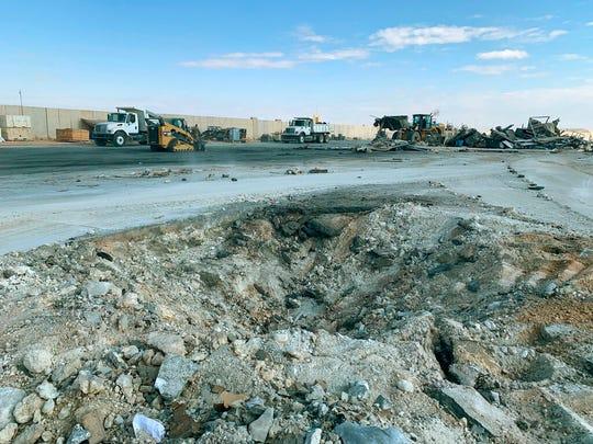 Iranian bombing caused a crater at Ain al-Asad air base in Anbar, Iraq, Monday, Jan. 13, 2020.