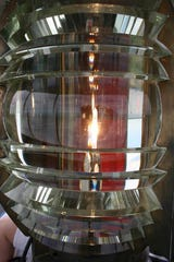 This is the fresnel lens, no longer active, at the Tawas Point Lighthouse.