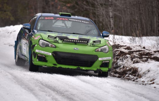A modified 2013 Subaru BRZ driven by Santiago Iglesias runs a closed course trial on Friday near Atlanta, Mich. The 23rd Sno*Drift sports car rally will take place Saturday, when 40 race cars are expected to run 17 stages competing for the best overall time in the annual winter race in Montmorency County.