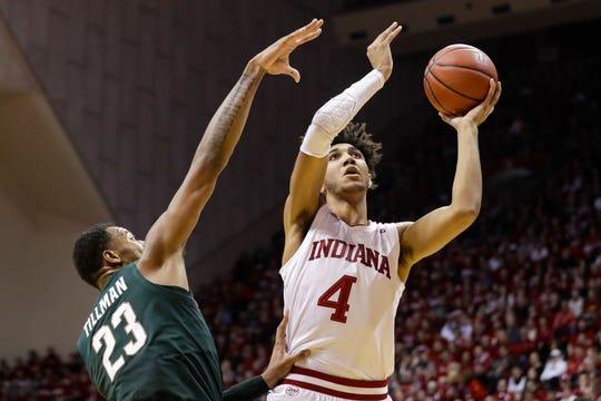 Indiana forward Trayce Jackson-Davis (4) shoots over Michigan State forward Xavier Tillman.