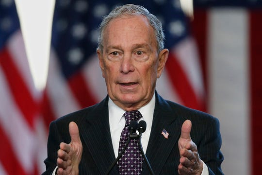 FILE - In this Jan. 19, 2020, file photo, Democratic presidential candidate Michael Bloomberg speaks at the Greenwood Cultural Center in Tulsa, Okla.