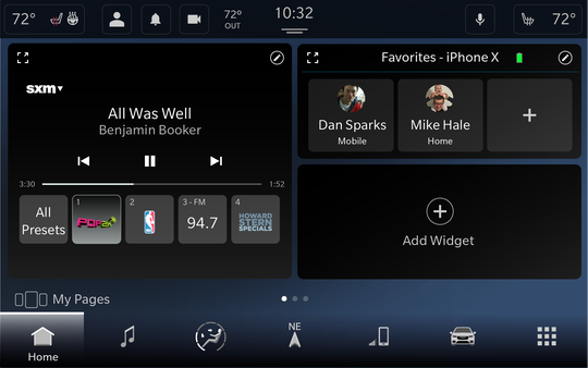 The fifth-generation Uconnect infotainment system features a customizable home screen.