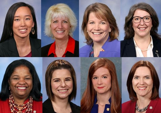 Allegations of sexual harassment against state Sen. Pete Lucido have spurred new conversations in Lansing about female lawmakers, lobbyists and staffers are treated. Pictured above eight of the female lawmakers interviewed for this story
