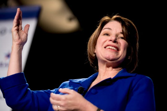 """Democratic presidential candidate Sen. Amy Klobuchar, D-Minn., speaks at """"We The People 2020: Protecting Our Democracy After Citizens United,"""" at Curate, Sunday, Jan. 19, 2020, in Des Moines, Iowa."""